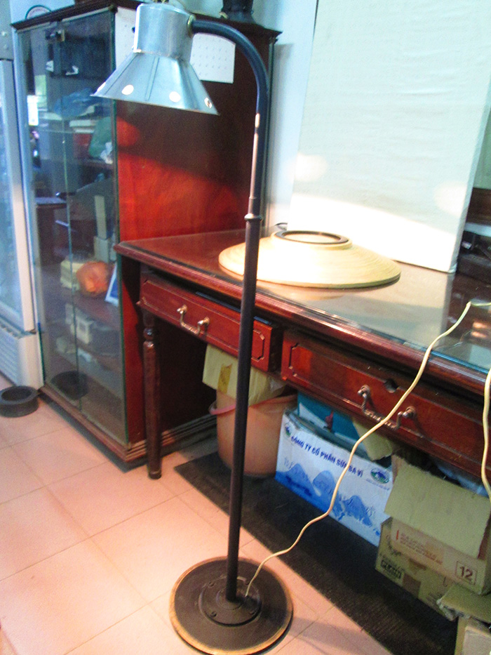 Vintage Floor Lamp with brass and steel base