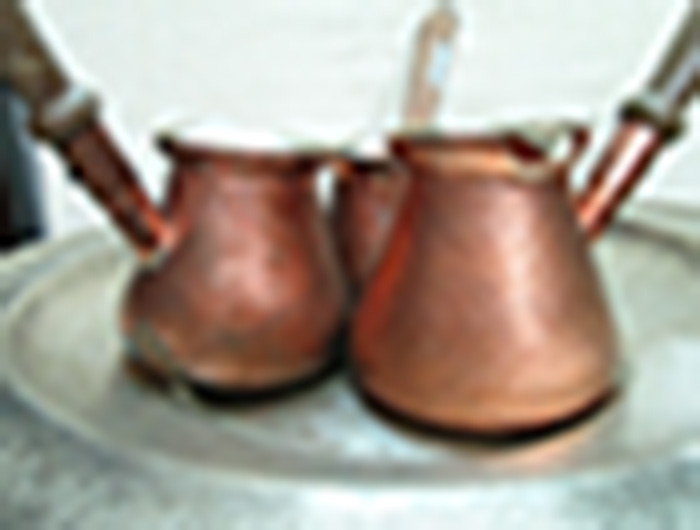 Engraved copper Turkish coffee Pots with wood handle