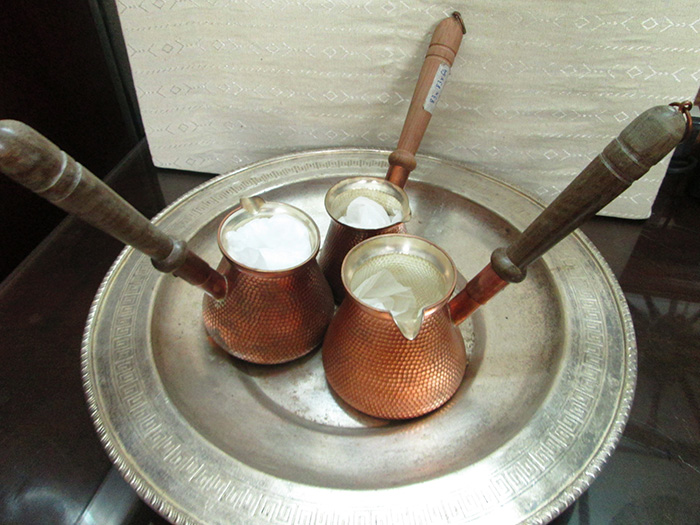 Ottoman Engraved copper turkish coffee Pots with wood handle