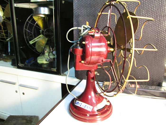 1910 Italian Marelli Oscillating Antique Desk Fan