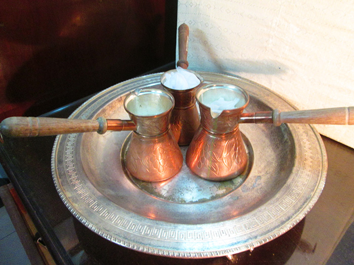 Engraved copper Turkish coffee Pots with wood handle -2