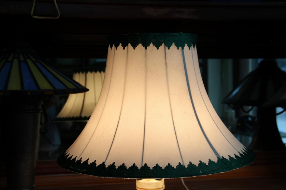 Milky white with green line iron base standing lamp