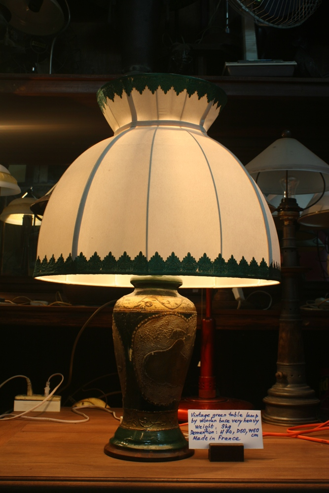 Vintage green table lamp by wooden base very heavy
