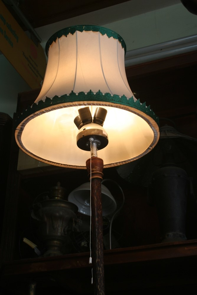 Rare wooden chicken floor lamp antique