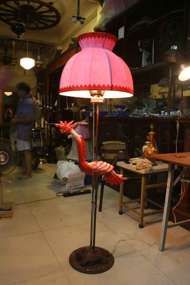 Rare wooden Turtles crane floor lamp with copper leg
