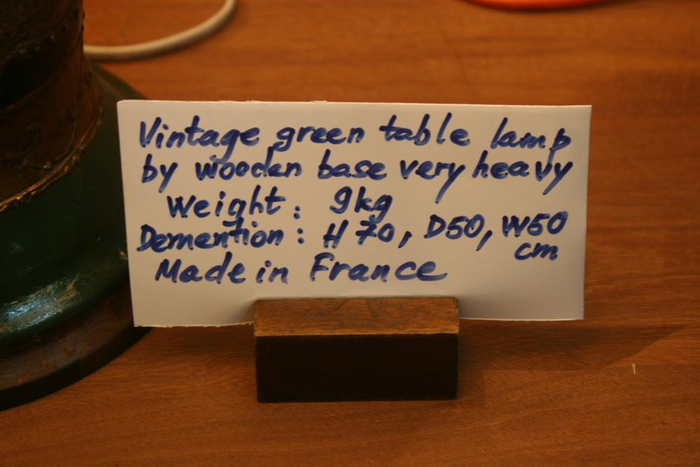 Vintage green table lamp