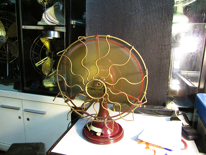 1910 Italian Marelli Oscillating Antique Desk Fan