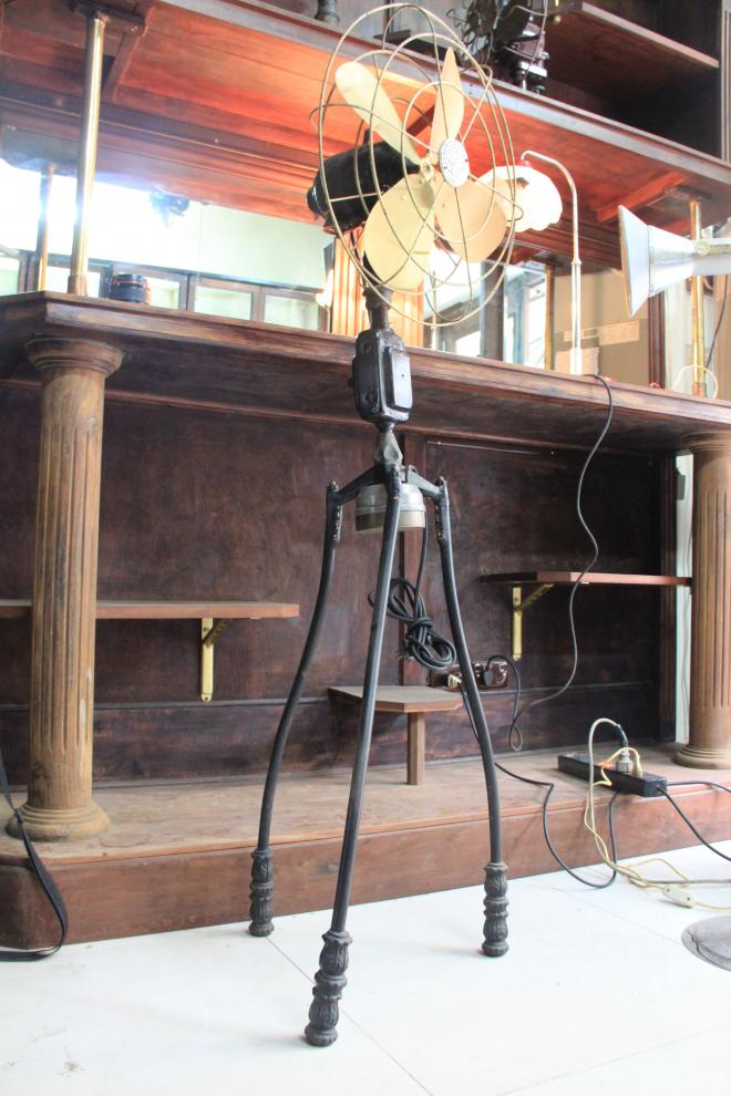 Antique Standing fan Marelli with tripod conner