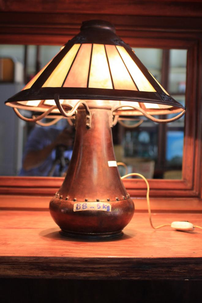 Double Socket Antique Lamp with copper stand.