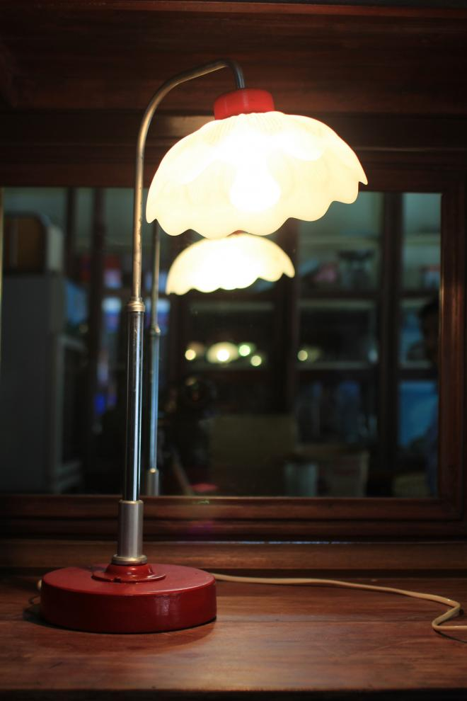 White Lotus Cast-Iron Antique Lamp