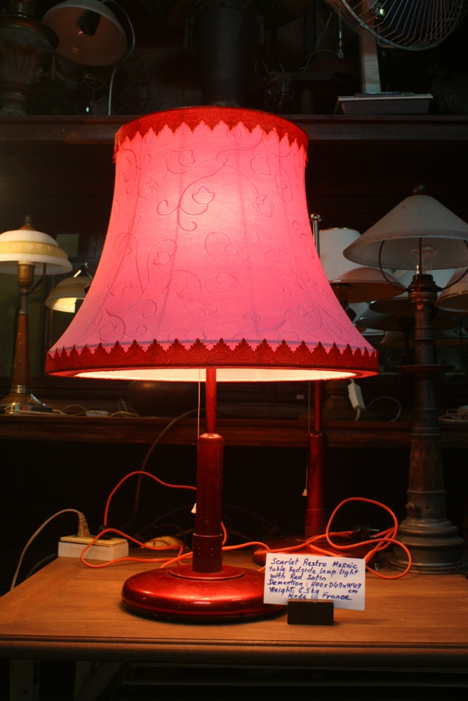 Scarlet Restro Mosaic table bedside lamp light with red satin