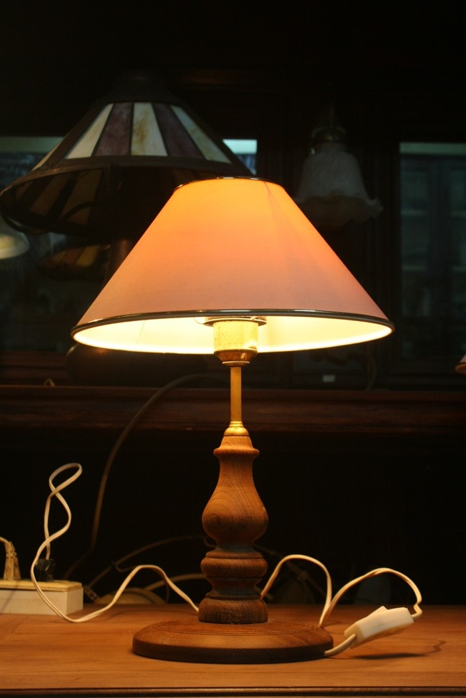 Hard wooden table lamp