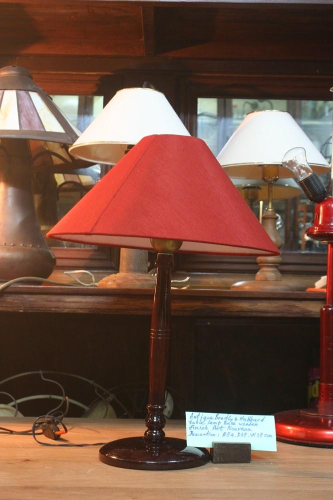Antique Bradly & Hubbard table lamp base wooden finish art nouvean